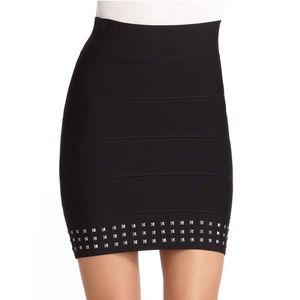 BCBGMAXAZRIA Women's Black Studded Bandage Skirt